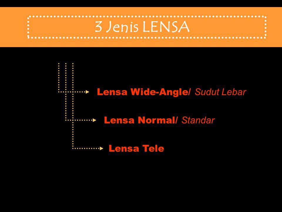 3 Jenis LENSA Lensa Wide-Angle/ Sudut Lebar Lensa Normal/ Standar