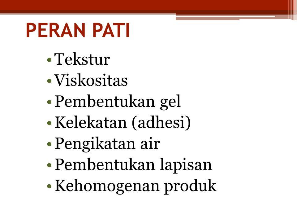 PERAN PATI Tekstur Viskositas Pembentukan gel Kelekatan (adhesi)