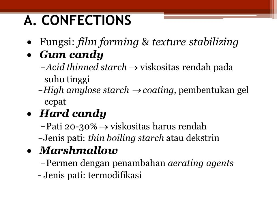 A. CONFECTIONS · Fungsi: film forming & texture stabilizing