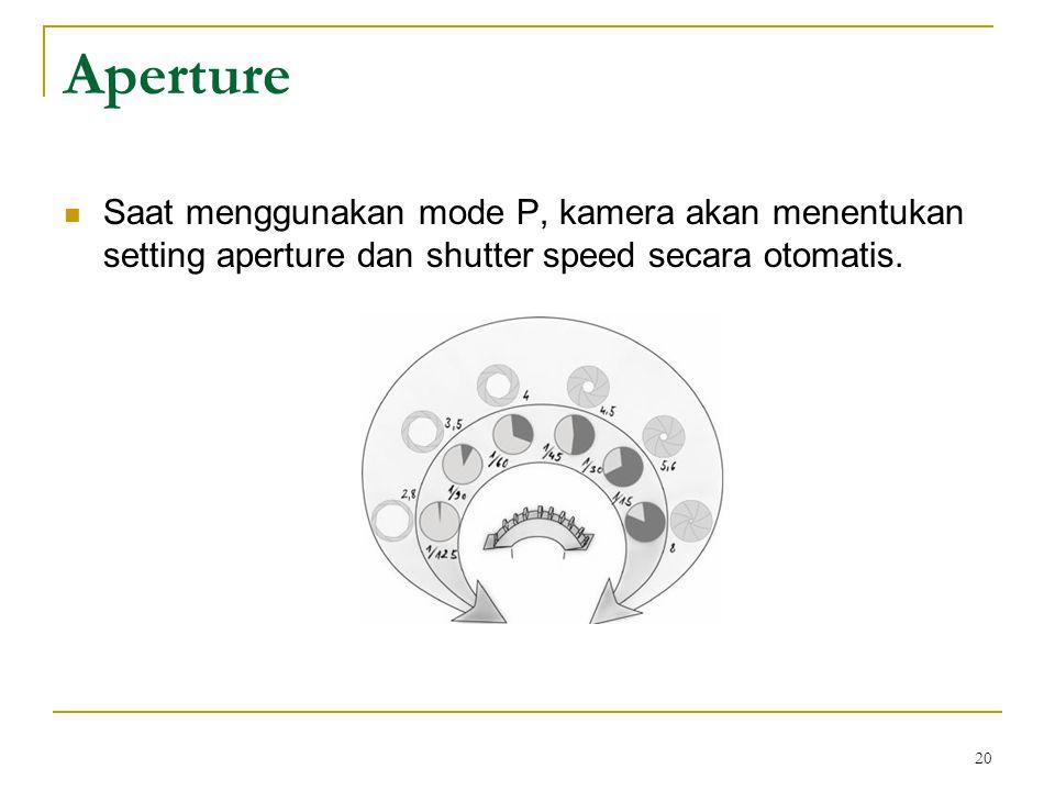 Aperture Saat menggunakan mode P, kamera akan menentukan setting aperture dan shutter speed secara otomatis.