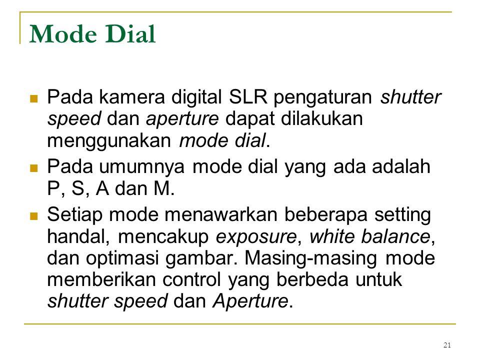 Mode Dial Pada kamera digital SLR pengaturan shutter speed dan aperture dapat dilakukan menggunakan mode dial.