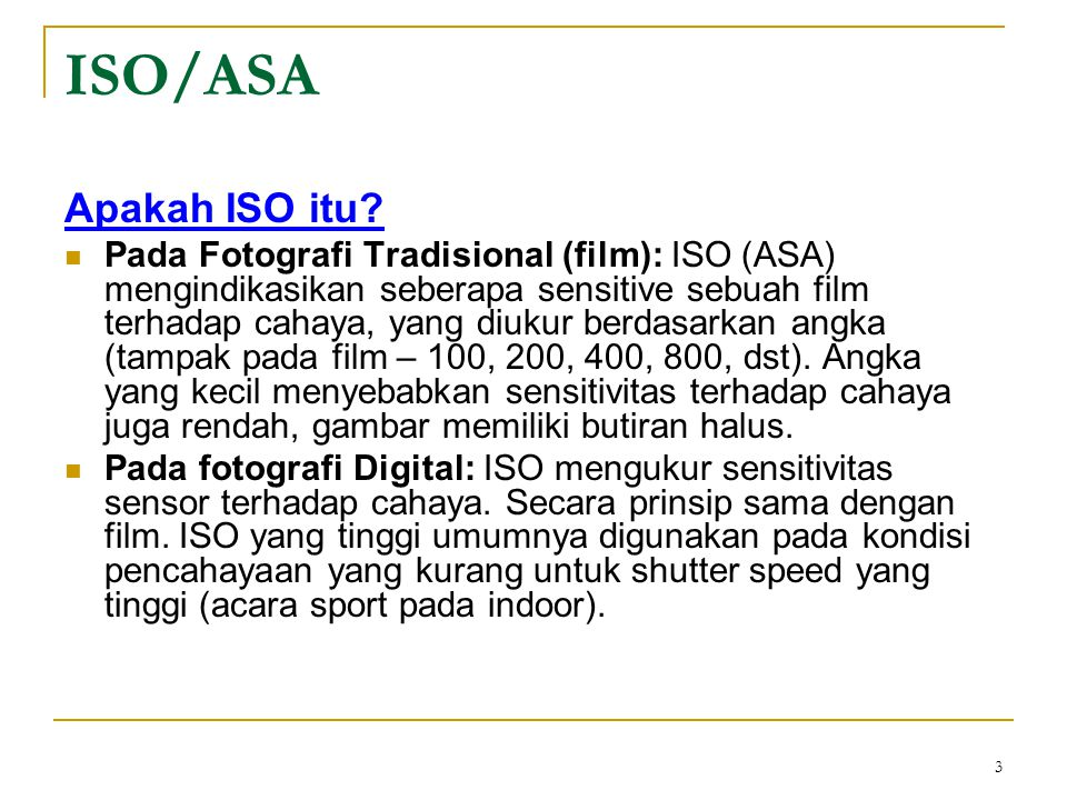 ISO/ASA Apakah ISO itu