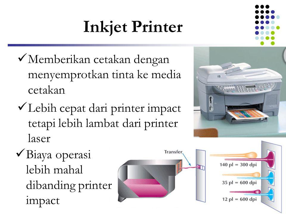 Inkjet Printer Memberikan cetakan dengan menyemprotkan tinta ke media cetakan.