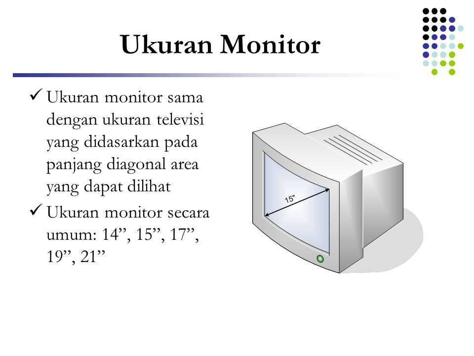 Ukuran Monitor Ukuran monitor sama dengan ukuran televisi yang didasarkan pada panjang diagonal area yang dapat dilihat.