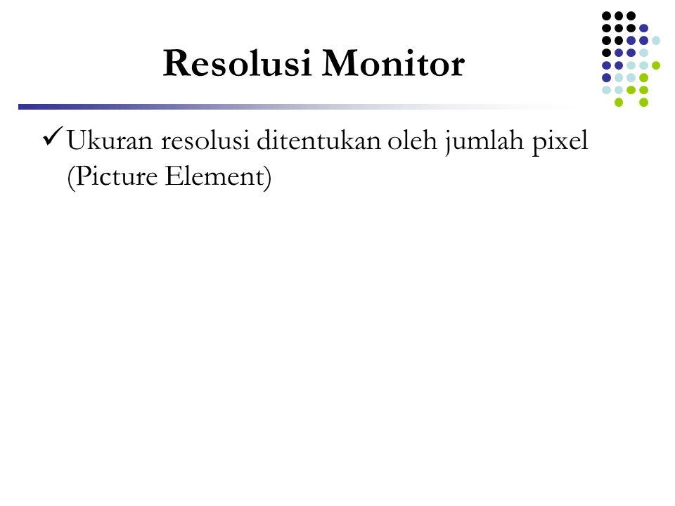 Resolusi Monitor Ukuran resolusi ditentukan oleh jumlah pixel (Picture Element)