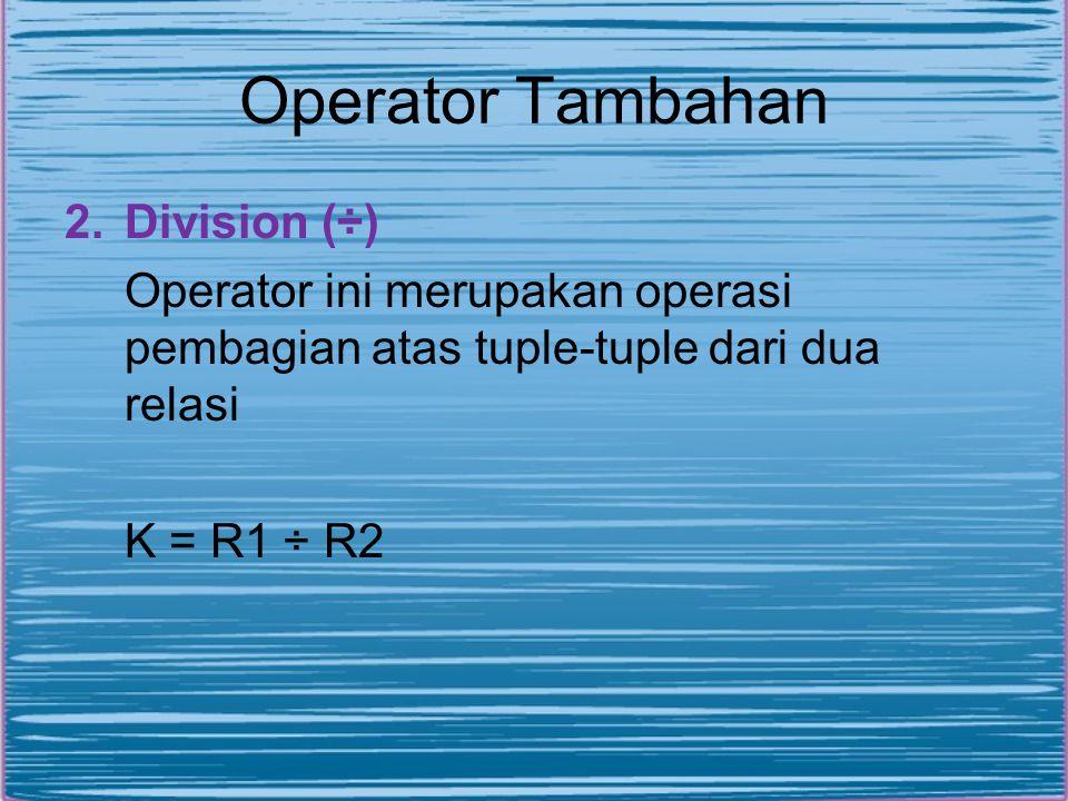 Operator Tambahan Division (÷)