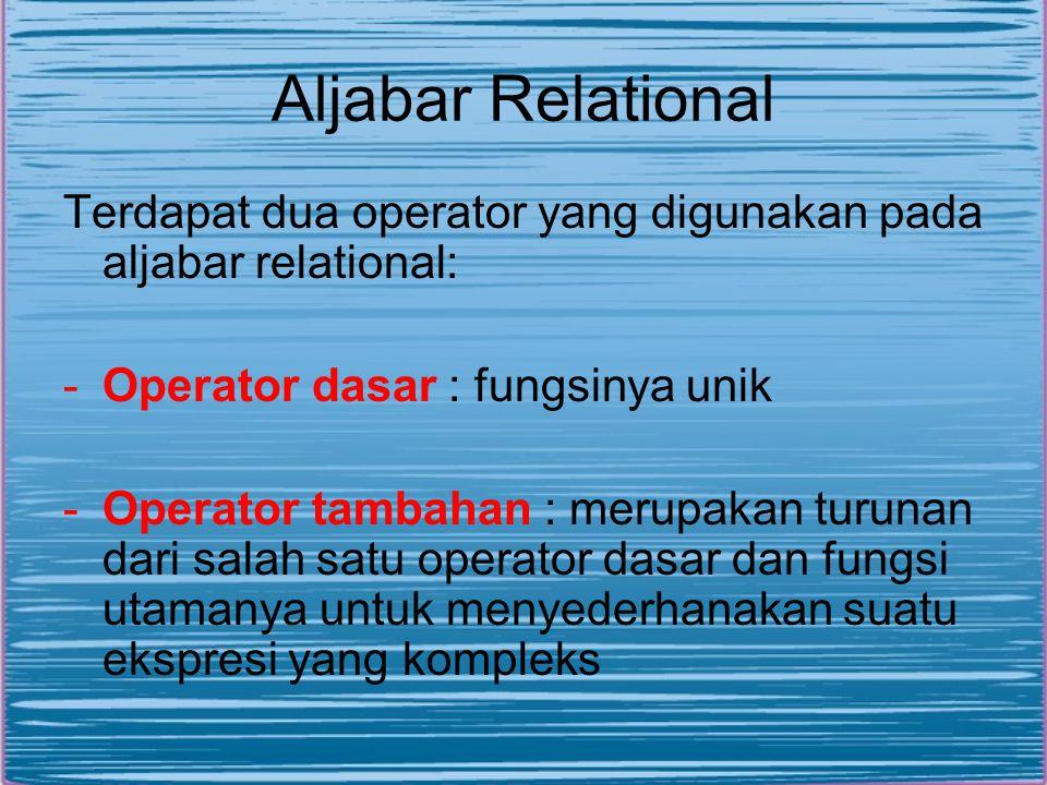 Aljabar Relational Terdapat dua operator yang digunakan pada aljabar relational: Operator dasar : fungsinya unik.
