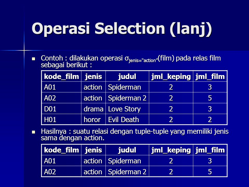 Operasi Selection (lanj)