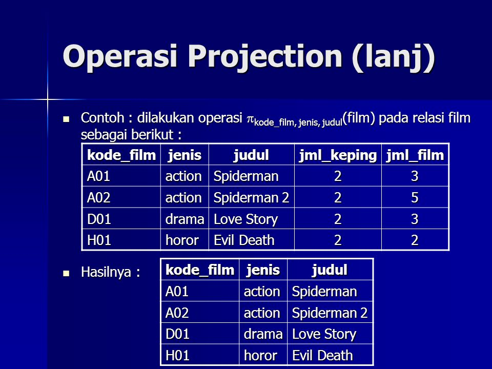 Operasi Projection (lanj)