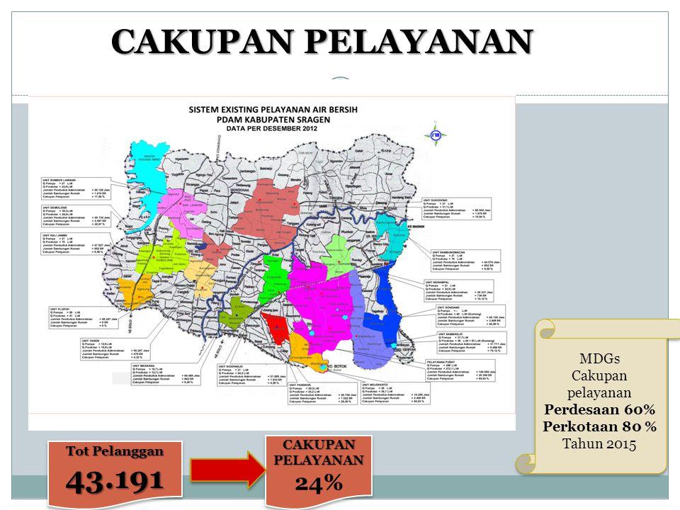 CAKUPAN PELAYANAN 43.191 24% MDGs Cakupan pelayanan Perdesaan 60%