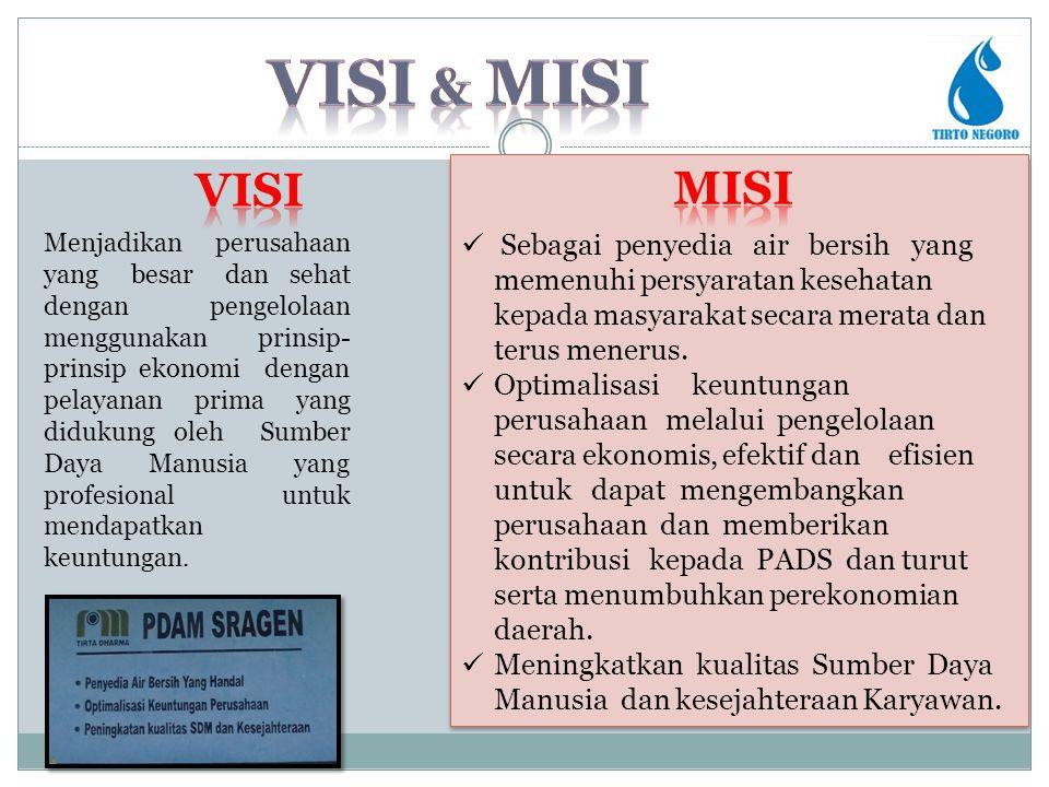 vISI & MISI VISI. MISI. Sebagai penyedia air bersih yang memenuhi persyaratan kesehatan kepada masyarakat secara merata dan terus menerus.
