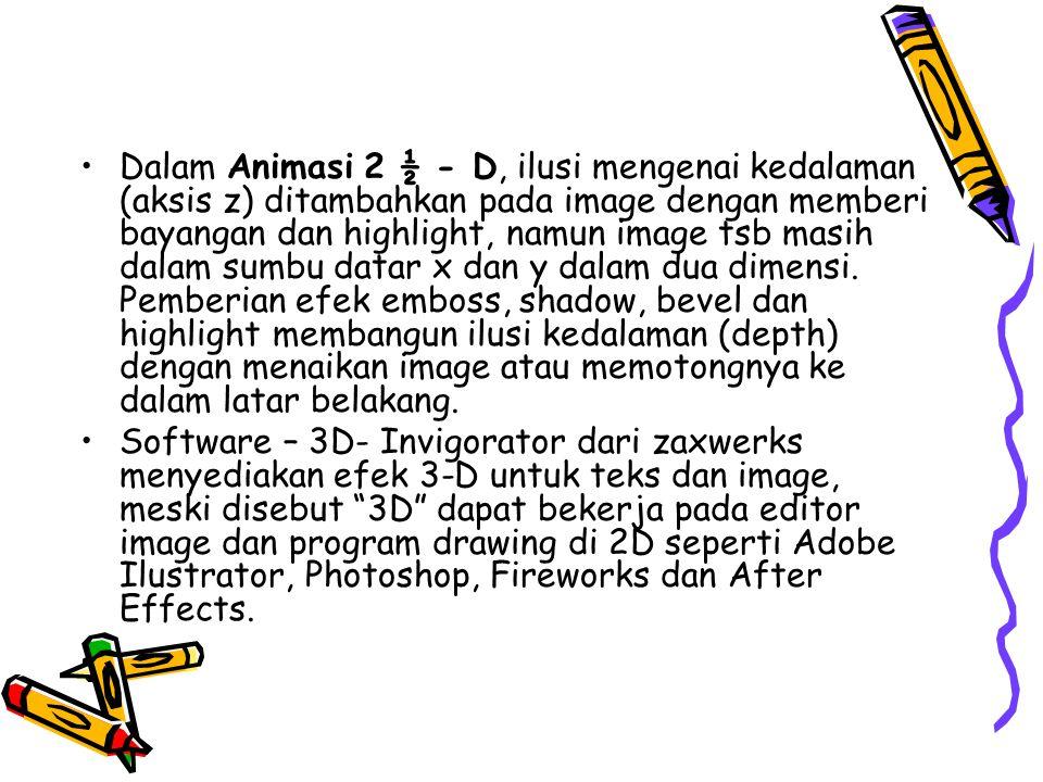 Dalam Animasi 2 ½ - D, ilusi mengenai kedalaman (aksis z) ditambahkan pada image dengan memberi bayangan dan highlight, namun image tsb masih dalam sumbu datar x dan y dalam dua dimensi. Pemberian efek emboss, shadow, bevel dan highlight membangun ilusi kedalaman (depth) dengan menaikan image atau memotongnya ke dalam latar belakang.