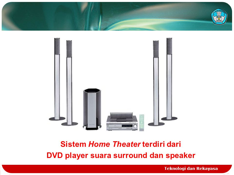 Sistem Home Theater terdiri dari DVD player suara surround dan speaker