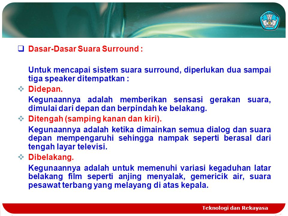 Dasar-Dasar Suara Surround :