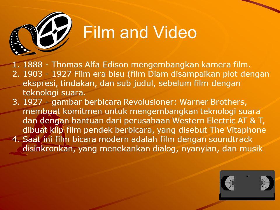 Film and Video 1888 - Thomas Alfa Edison mengembangkan kamera film.