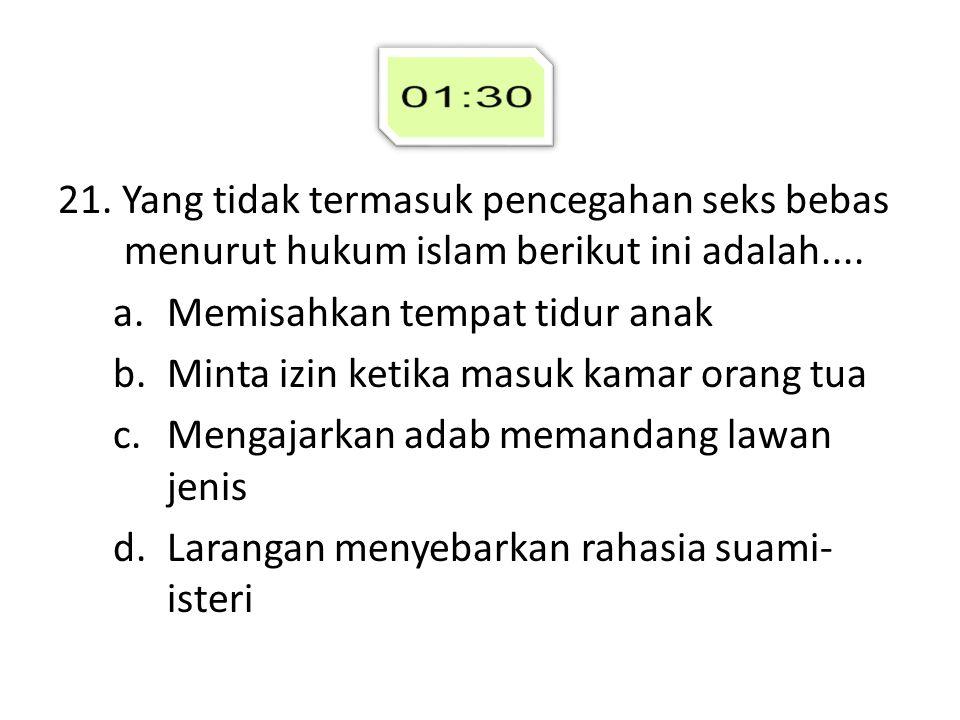 21. Yang tidak termasuk pencegahan seks bebas menurut hukum islam berikut ini adalah....