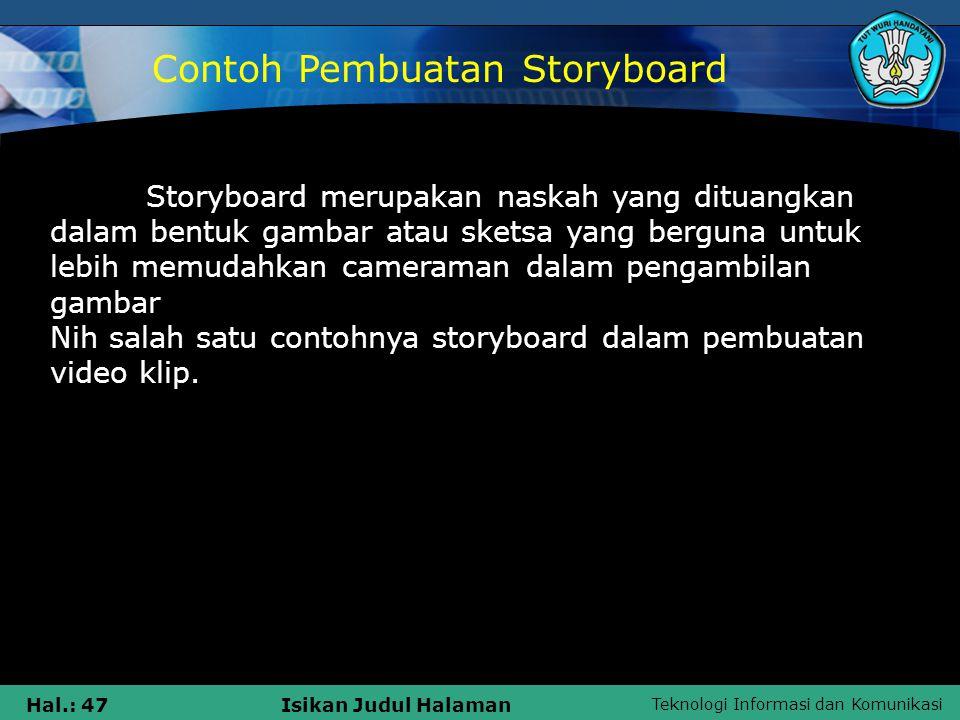 Contoh Pembuatan Storyboard