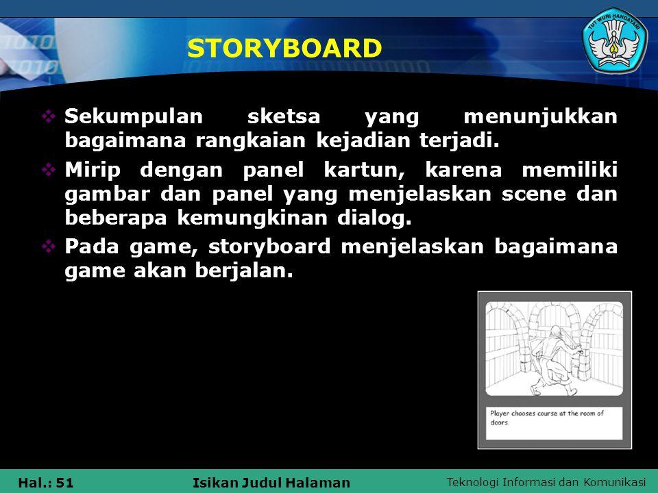 STORYBOARD Sekumpulan sketsa yang menunjukkan bagaimana rangkaian kejadian terjadi.