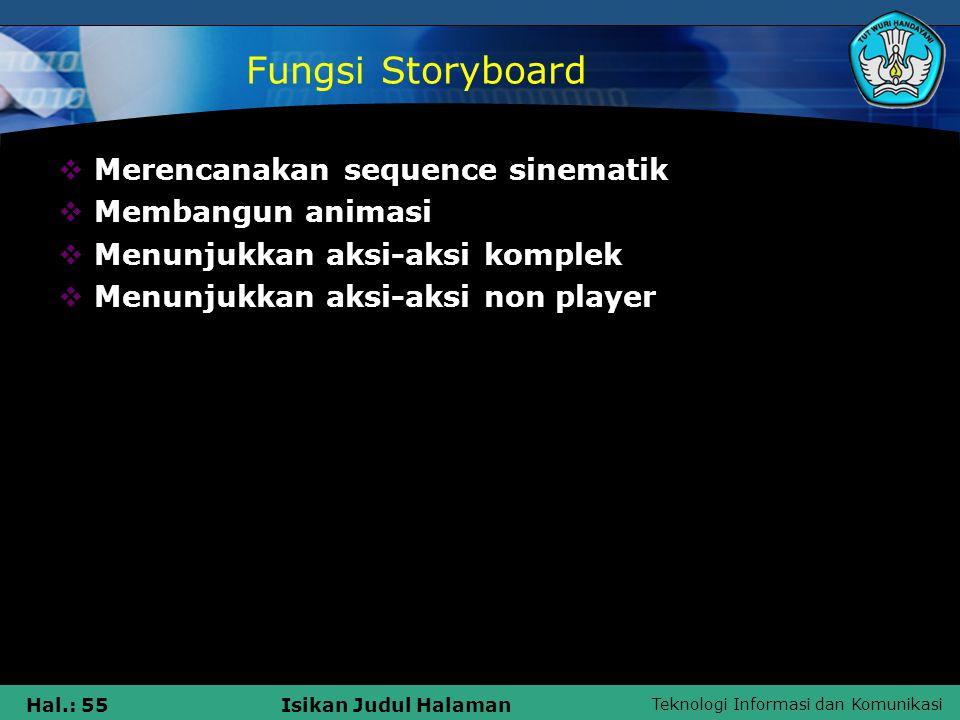Fungsi Storyboard Merencanakan sequence sinematik Membangun animasi