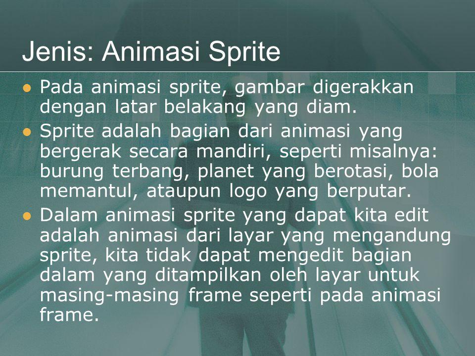 Jenis: Animasi Sprite Pada animasi sprite, gambar digerakkan dengan latar belakang yang diam.