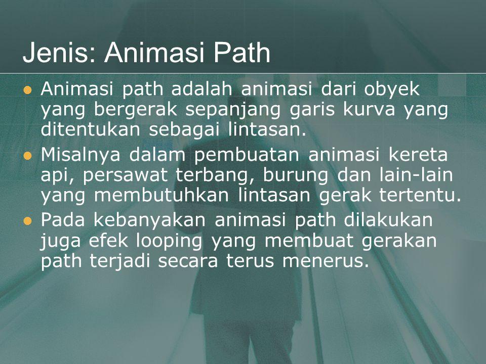 Jenis: Animasi Path Animasi path adalah animasi dari obyek yang bergerak sepanjang garis kurva yang ditentukan sebagai lintasan.