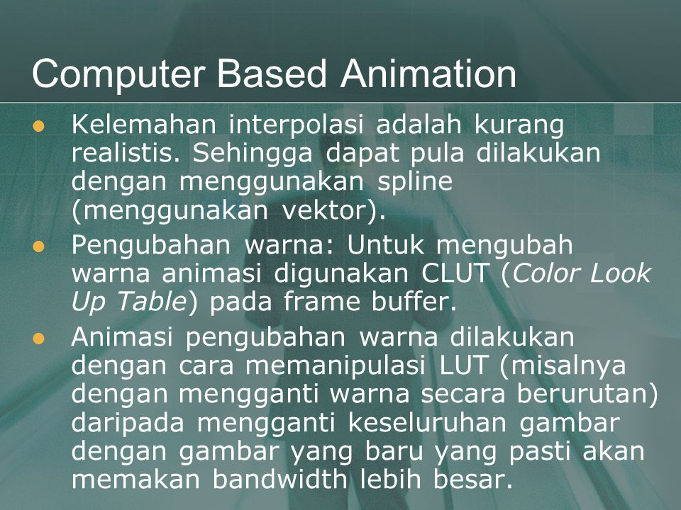 Computer Based Animation