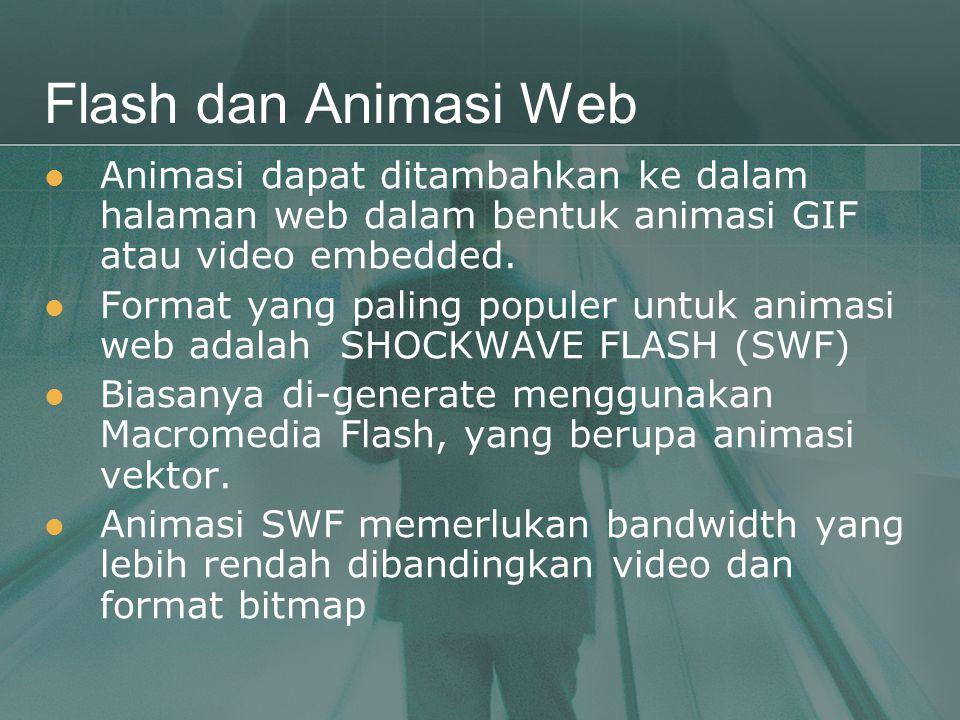 Flash dan Animasi Web Animasi dapat ditambahkan ke dalam halaman web dalam bentuk animasi GIF atau video embedded.