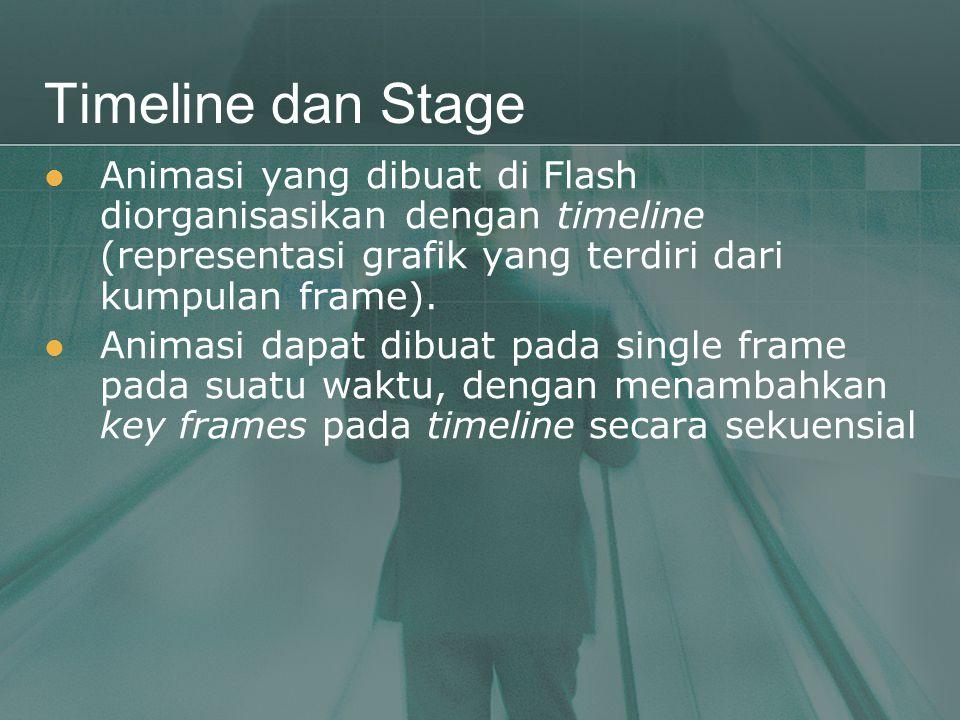 Timeline dan Stage Animasi yang dibuat di Flash diorganisasikan dengan timeline (representasi grafik yang terdiri dari kumpulan frame).