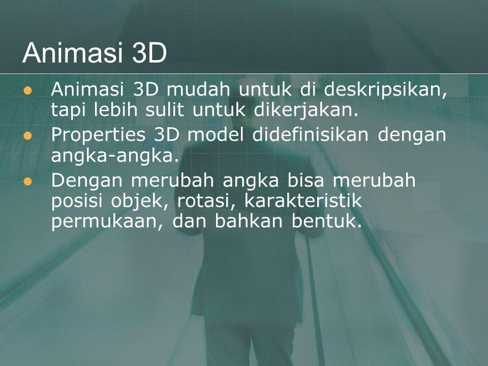 Animasi 3D Animasi 3D mudah untuk di deskripsikan, tapi lebih sulit untuk dikerjakan. Properties 3D model didefinisikan dengan angka-angka.
