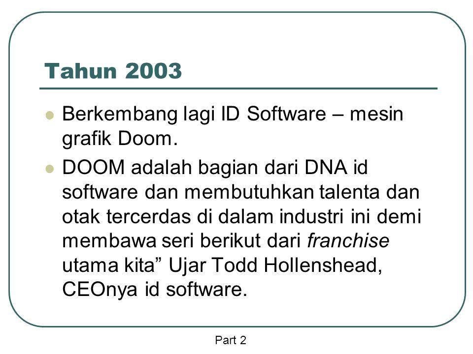 Tahun 2003 Berkembang lagi ID Software – mesin grafik Doom.