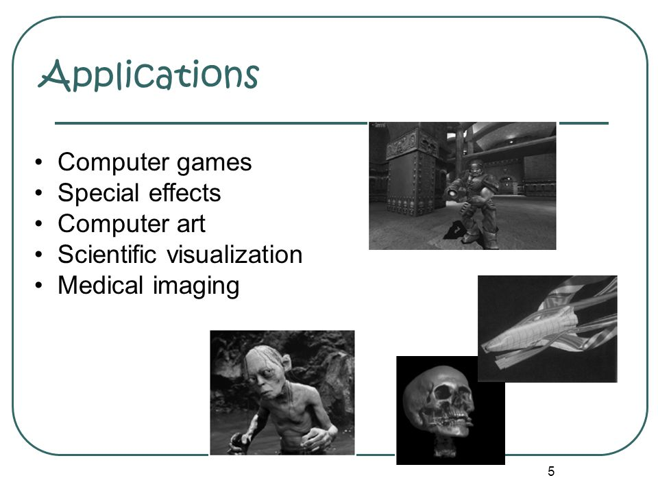 Applications Computer games Special effects Computer art