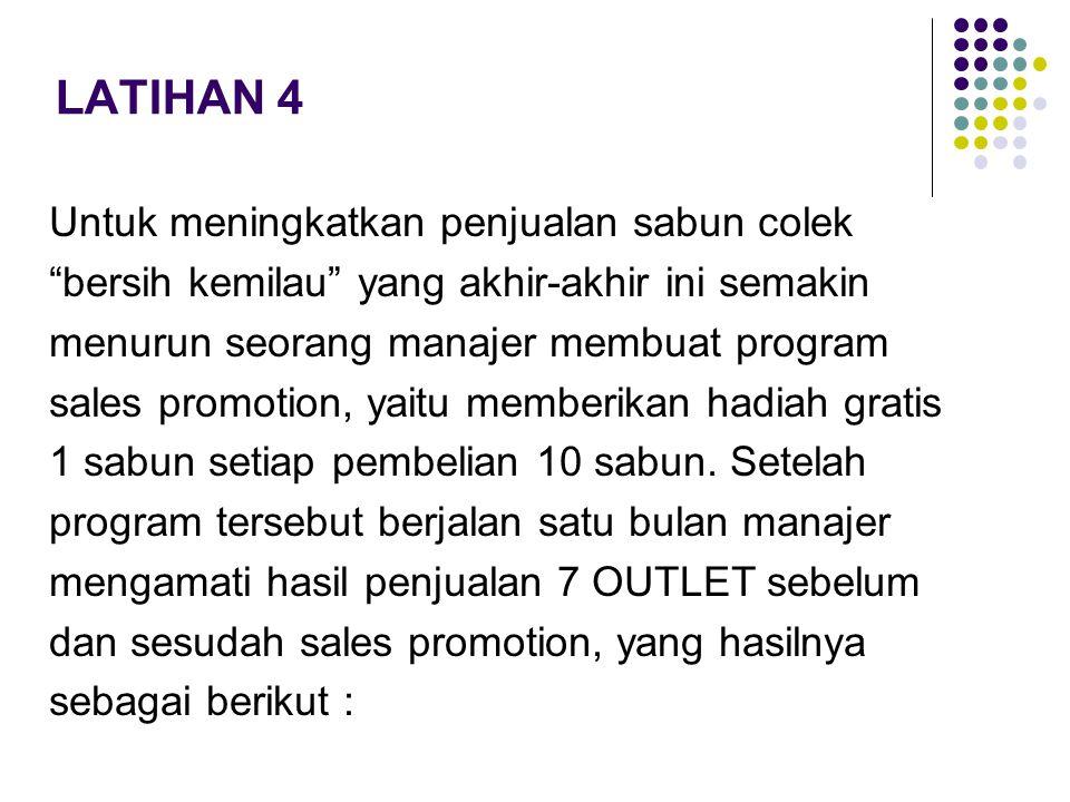 LATIHAN 4 Untuk meningkatkan penjualan sabun colek