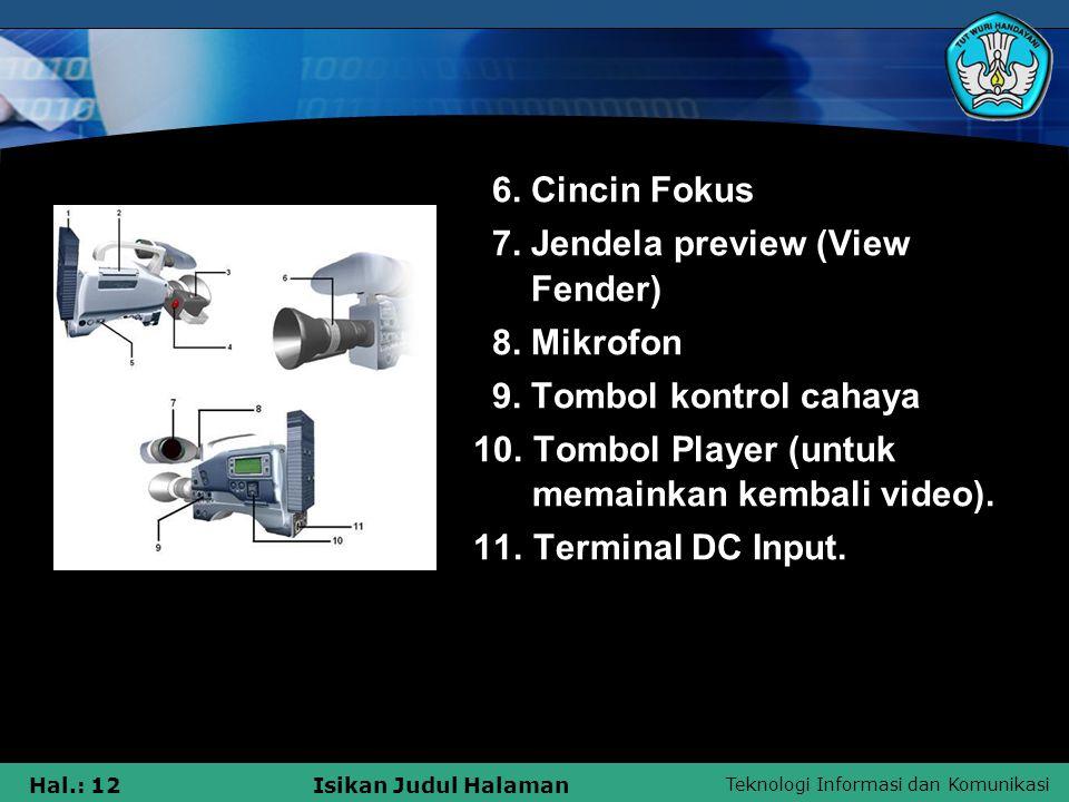 6. Cincin Fokus 7. Jendela preview (View Fender) 8. Mikrofon. 9. Tombol kontrol cahaya.