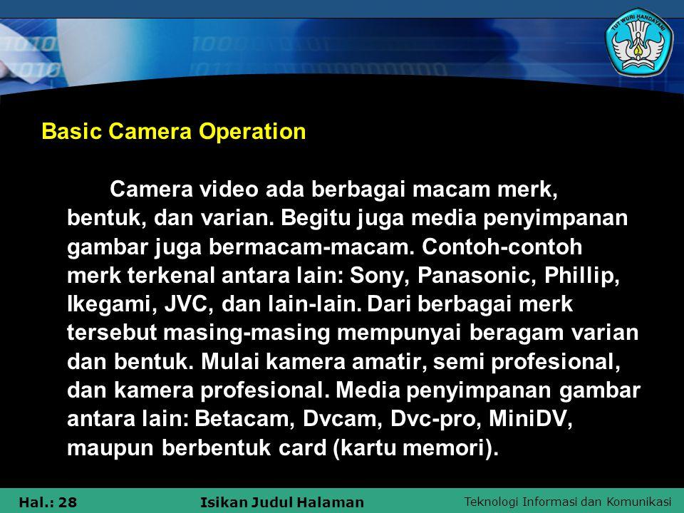 Basic Camera Operation