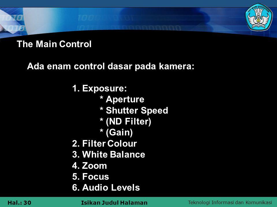 The Main Control Ada enam control dasar pada kamera:. 1. Exposure: