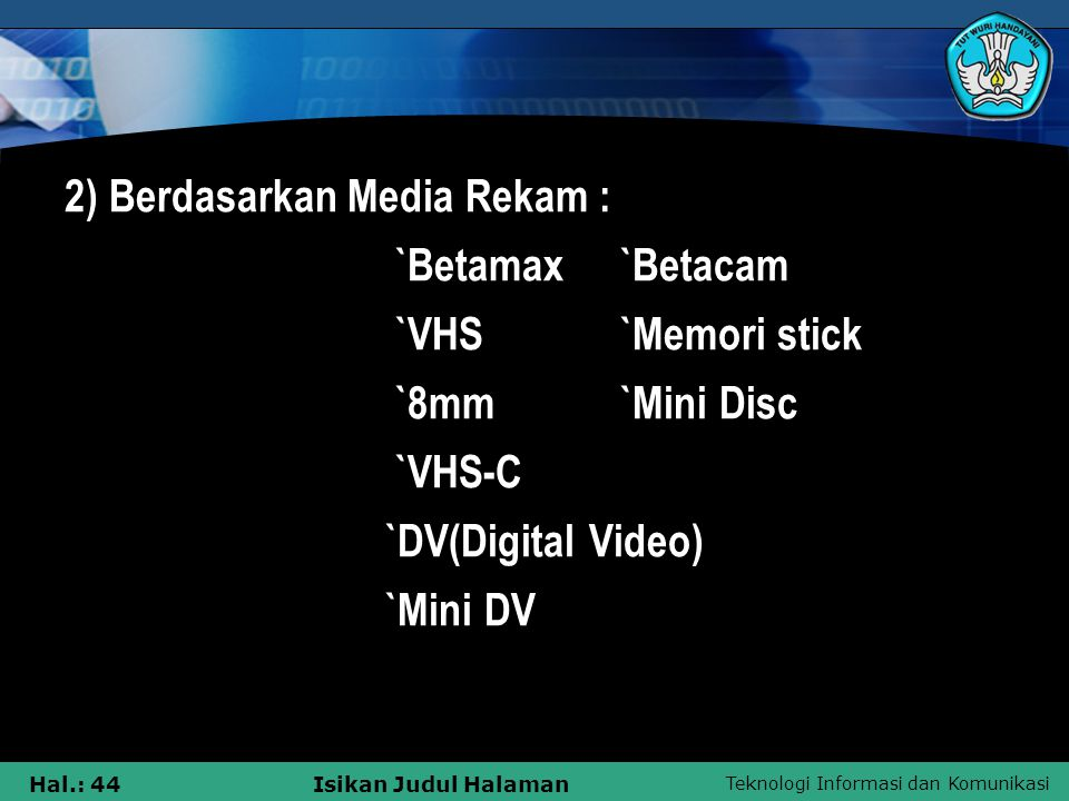 2) Berdasarkan Media Rekam :