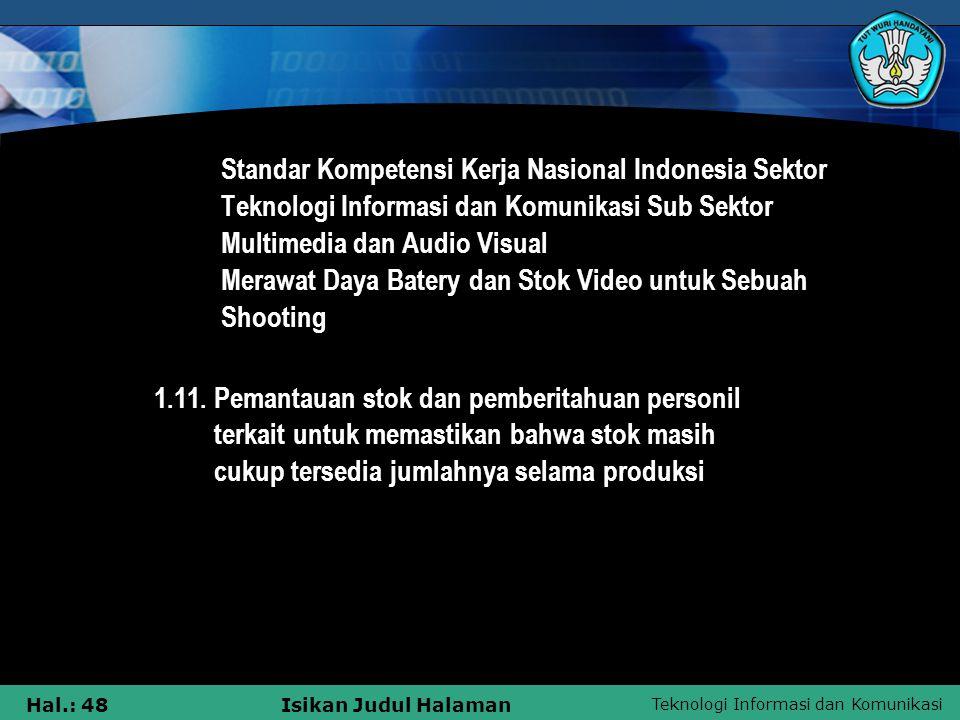 Standar Kompetensi Kerja Nasional Indonesia Sektor