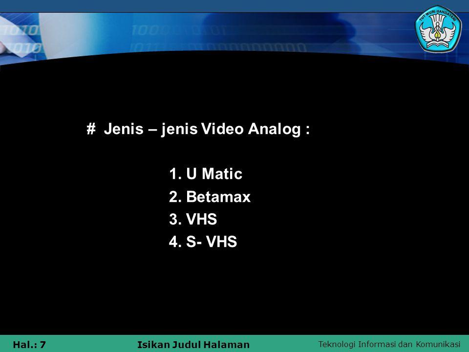 # Jenis – jenis Video Analog :