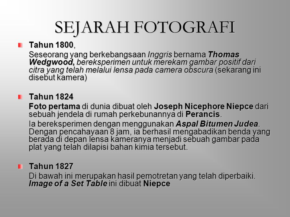 SEJARAH FOTOGRAFI Tahun 1800,