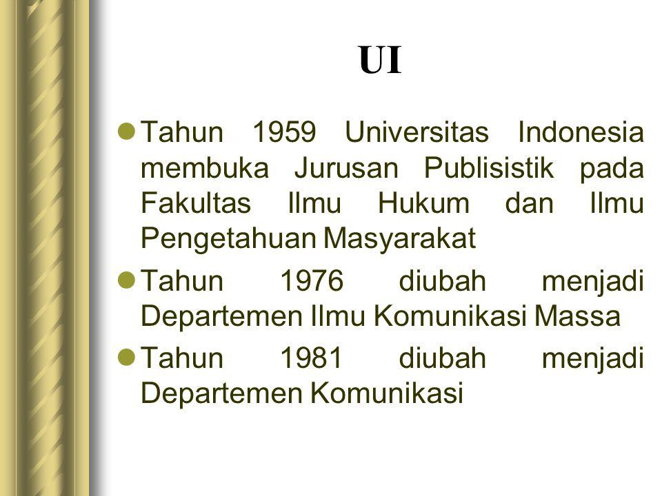 UI Tahun 1959 Universitas Indonesia membuka Jurusan Publisistik pada Fakultas Ilmu Hukum dan Ilmu Pengetahuan Masyarakat.