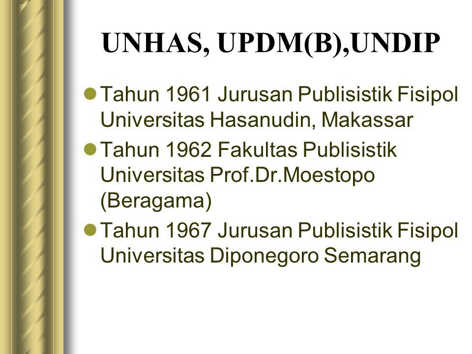 UNHAS, UPDM(B),UNDIP Tahun 1961 Jurusan Publisistik Fisipol Universitas Hasanudin, Makassar.