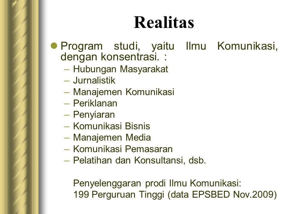 Realitas Program studi, yaitu Ilmu Komunikasi, dengan konsentrasi. :