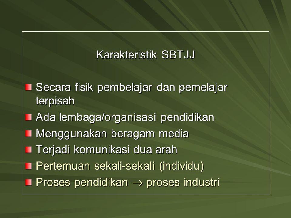 Karakteristik SBTJJ Secara fisik pembelajar dan pemelajar terpisah. Ada lembaga/organisasi pendidikan.