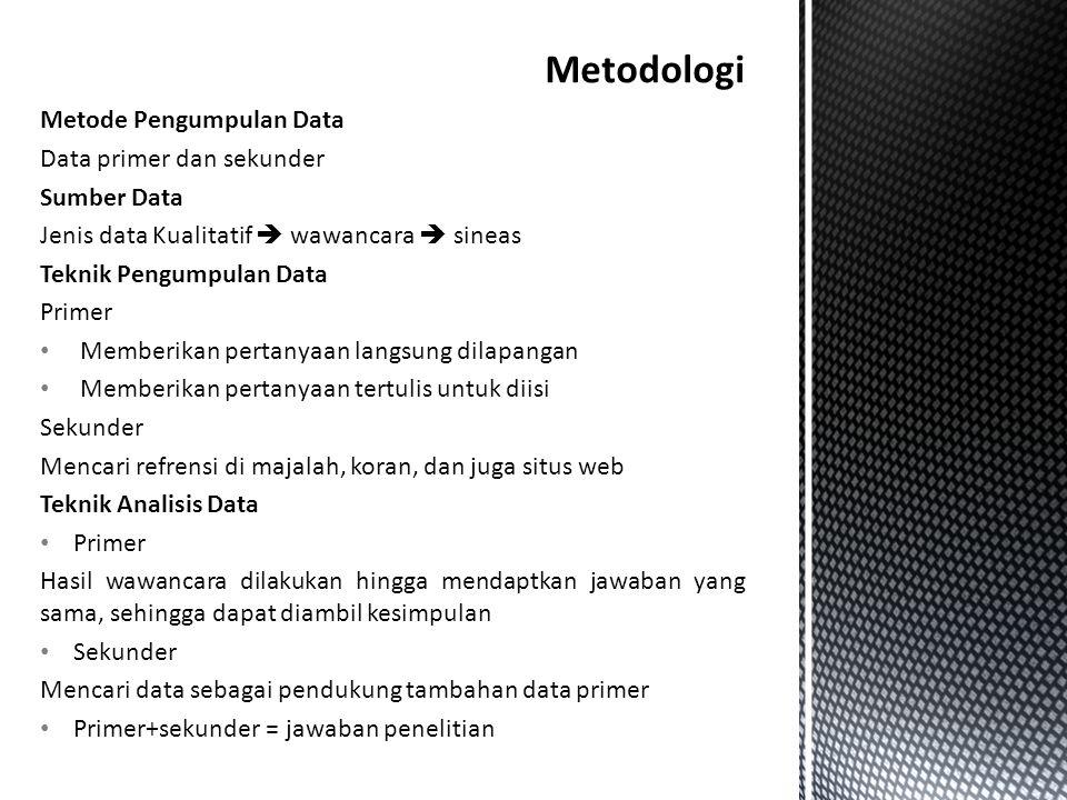 Metodologi Metode Pengumpulan Data Data primer dan sekunder