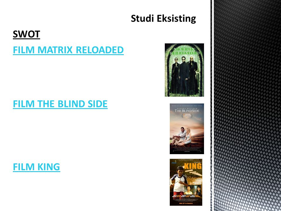 SWOT FILM MATRIX RELOADED FILM THE BLIND SIDE FILM KING