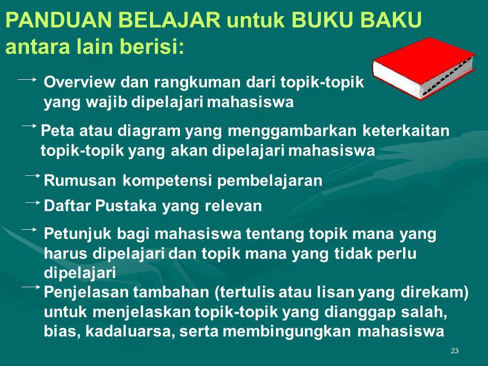 PANDUAN BELAJAR untuk BUKU BAKU antara lain berisi: