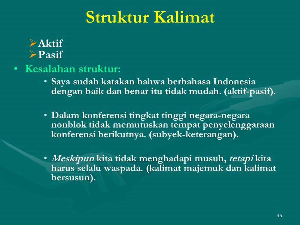 Struktur Kalimat Aktif Pasif Kesalahan struktur: