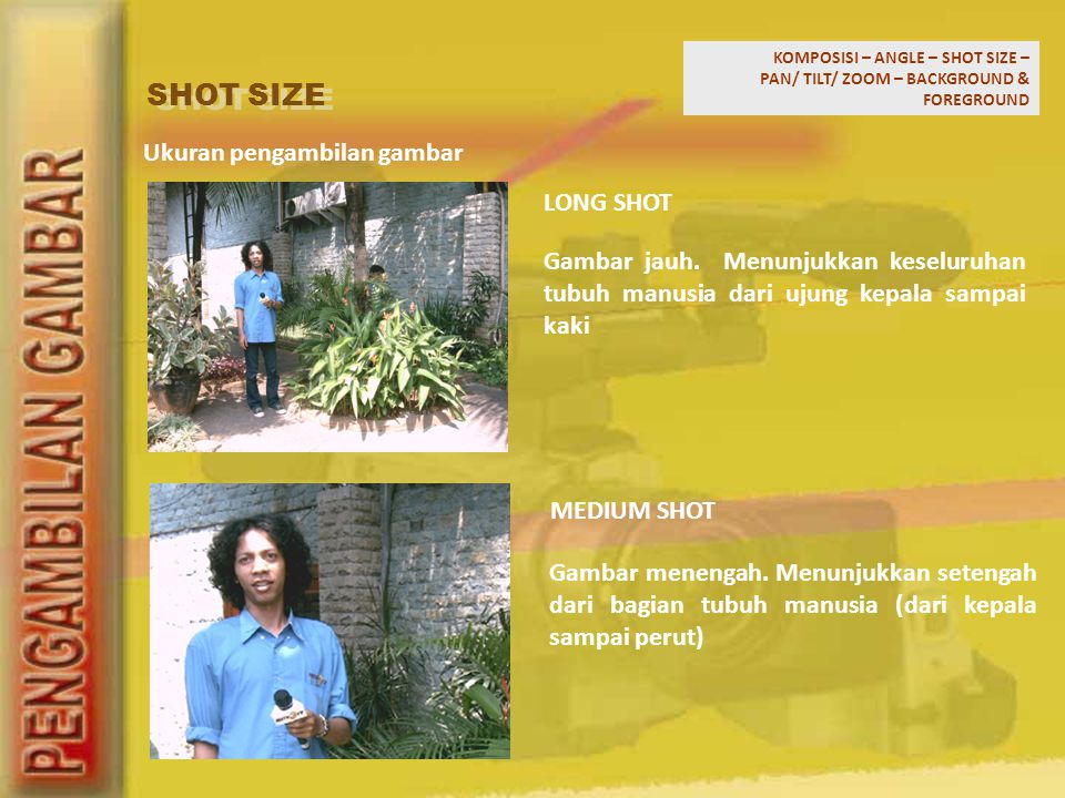 SHOT SIZE Ukuran pengambilan gambar LONG SHOT