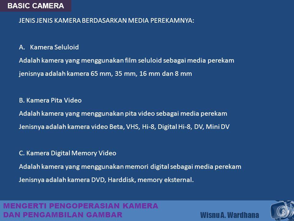 BASIC CAMERA JENIS JENIS KAMERA BERDASARKAN MEDIA PEREKAMNYA: Kamera Seluloid. Adalah kamera yang menggunakan film seluloid sebagai media perekam.