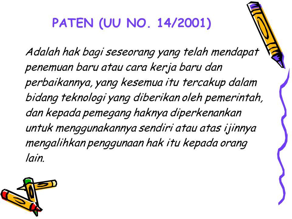 PATEN (UU NO. 14/2001) Adalah hak bagi seseorang yang telah mendapat